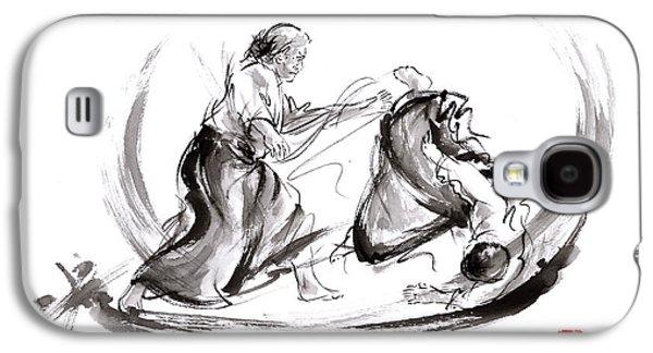 Aikido Fight Scenery Martial Arts Drawing Painting Sketch Art Draw Japan Japanese School Galaxy S4 Case by Mariusz Szmerdt