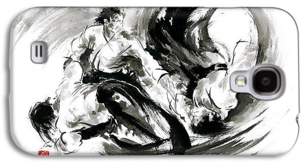 Aikido Randori Fight Popular Techniques Martial Arts Sumi-e Samurai Ink Painting Artwork Galaxy S4 Case by Mariusz Szmerdt