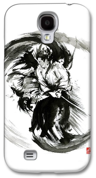 Aikido Techniques Martial Arts Sumi-e Black White Round Circle Design Yin Yang Ink Painting Watercol Galaxy S4 Case