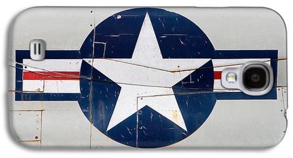 Air Force Logo On Vintage War Plane Galaxy S4 Case by Stephanie McDowell