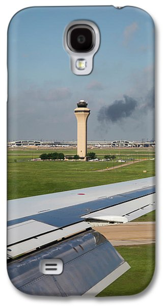 Airport Control Tower And Airplane Wing Galaxy S4 Case by Jim West