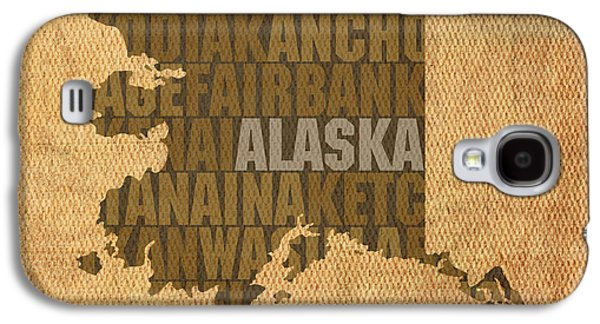Alaska Word Art State Map On Canvas Galaxy S4 Case by Design Turnpike