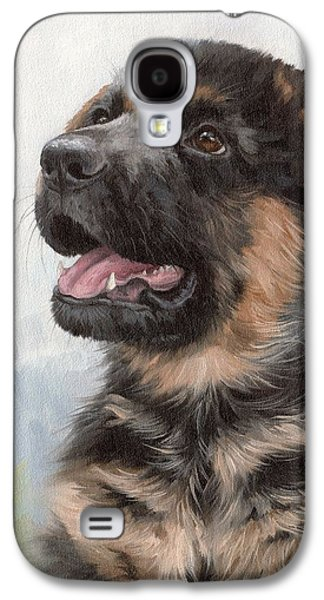 Alsatian Puppy Painting Galaxy S4 Case