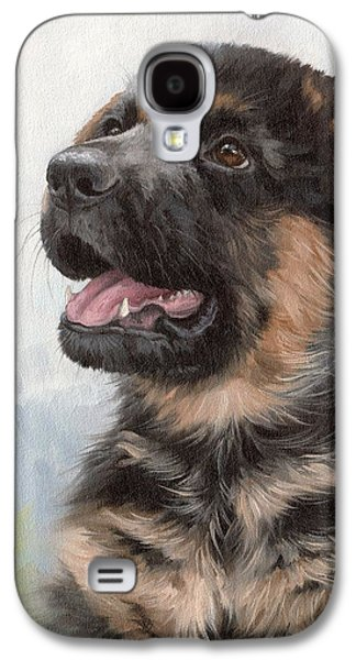 Alsatian Puppy Painting Galaxy S4 Case by Rachel Stribbling