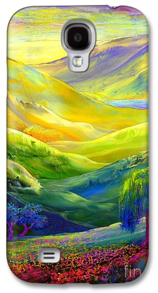 Floral Abstract Galaxy S4 Case -  Wildflower Meadows, Amber Skies by Jane Small