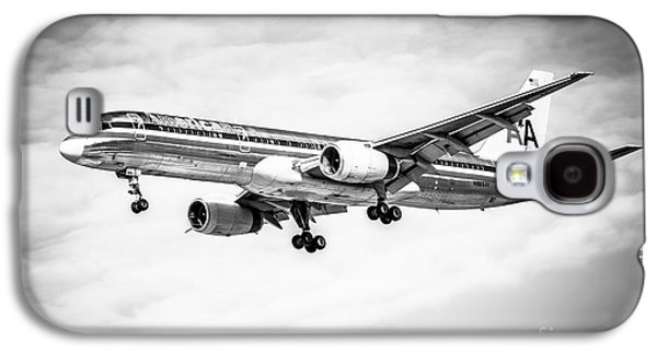 Amercian Airlines 757 Airplane In Black And White Galaxy S4 Case