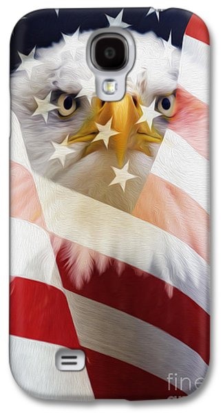 American Flag And Bald Eagle Montage Galaxy S4 Case by Tim Gainey