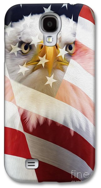 American Flag And Bald Eagle Montage Galaxy S4 Case