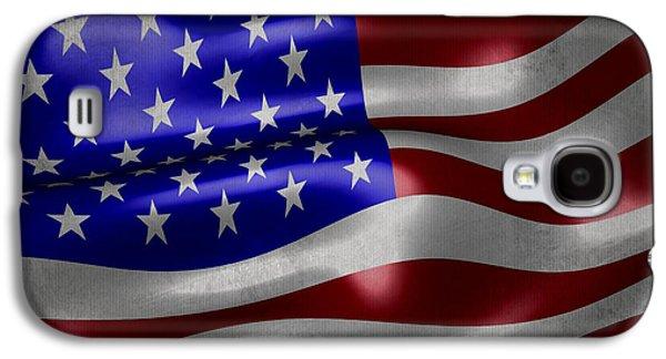 American Flag Waving On Canvas Galaxy S4 Case by Eti Reid