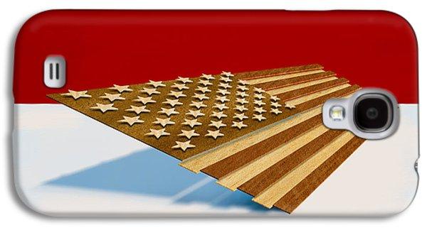 Folk Art Galaxy S4 Case - American Flag Wood by Yo Pedro