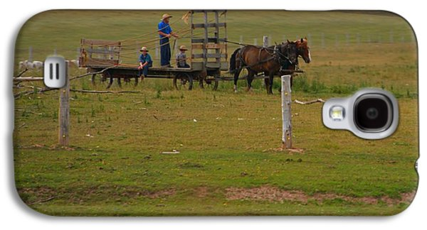 Amish Man And Two Sons On The Farm Galaxy S4 Case by Dan Sproul