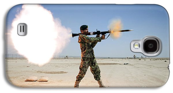An Afghan National Army Soldier Fires Galaxy S4 Case by Stocktrek Images