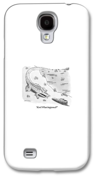 Reptiles Galaxy S4 Case - An Alligator Is Seen Speaking To An by Mick Stevens