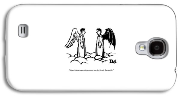 An Angel With Bat Wings Speaks To An Angel Galaxy S4 Case by Drew Dernavich