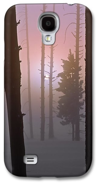 An Etheral Winter Forest Sunrise Galaxy S4 Case by Leland D Howard