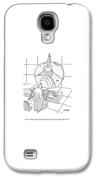 An Evil Criminal Holds A Lever That Is Lowering Galaxy S4 Case by Jack Ziegler