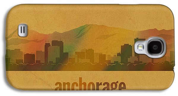 Anchorage Alaska City Skyline Watercolor On Parchment Galaxy S4 Case by Design Turnpike
