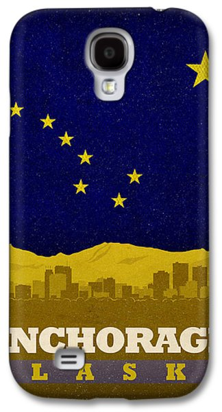 Anchorage City Skyline State Flag Of Alaska Art Poster Series 006 Galaxy S4 Case by Design Turnpike