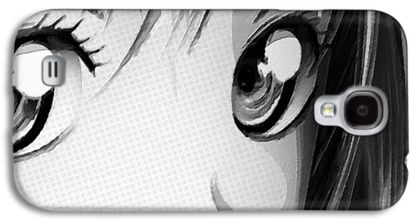 Anime Girl Eyes 2 Black And White Galaxy S4 Case