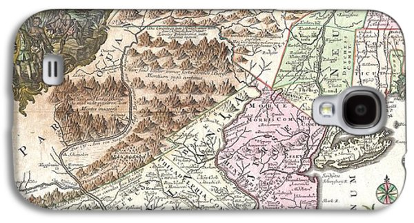 Antique Map 1756 Pennsylvania New York New Jersey Galaxy S4 Case by Dan Sproul