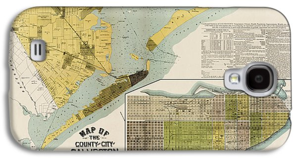 Antique Map Of Galveston Texas By The Island City Abstract And Loan Co. - 1891 Galaxy S4 Case by Blue Monocle