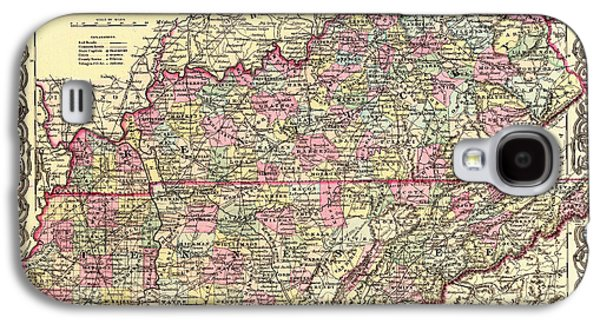 Antique Map Of Kentucky And Tennessee Galaxy S4 Case by Mountain Dreams