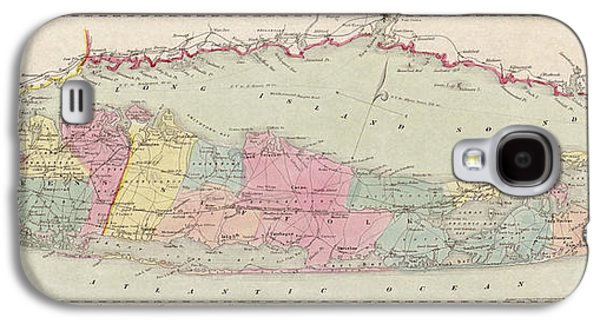 Antique Map Of Long Island By J.h. Colton And Co. - 1857 Galaxy S4 Case by Blue Monocle