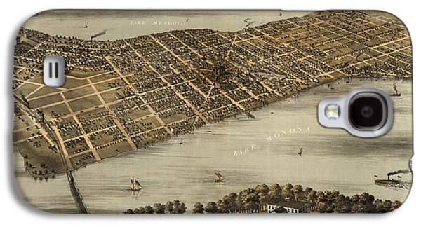 Antique Map Of Madison Wisconsin By A. Ruger - 1867 Galaxy S4 Case by Blue Monocle