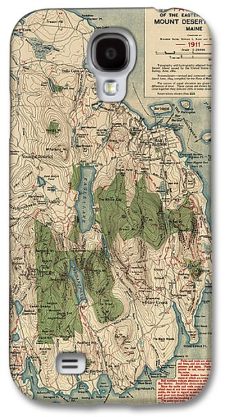 Antique Map Of Mount Desert Island - Acadia National Park - By Waldron Bates - 1911 Galaxy S4 Case