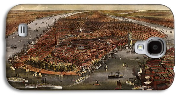 Antique Map Of New York City By Currier And Ives - 1870 Galaxy S4 Case by Blue Monocle