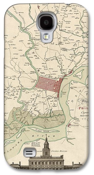 Antique Map Of Philadelphia By Matthaus Albrecht Lotter - 1777 Galaxy S4 Case by Blue Monocle