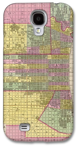 Antique Map Of Philadelphia By Samuel Augustus Mitchell - 1849 Galaxy S4 Case by Blue Monocle