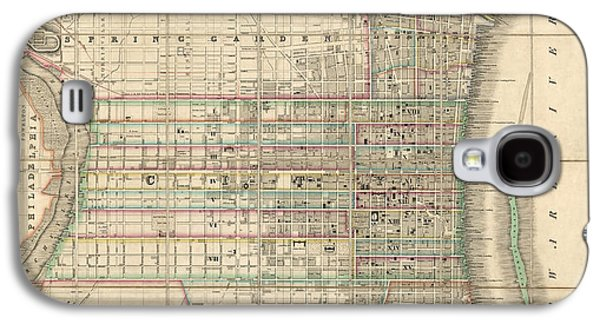 Antique Map Of Philadelphia By William Allen - 1830 Galaxy S4 Case by Blue Monocle