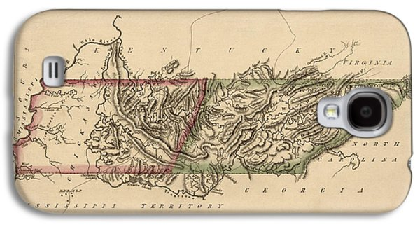 Antique Map Of Tennessee By Fielding Lucas - Circa 1817 Galaxy S4 Case by Blue Monocle