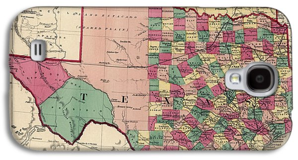 Antique Map Of Texas And Oklahoma By H. H. Lloyd And Co. - 1875 Galaxy S4 Case by Blue Monocle