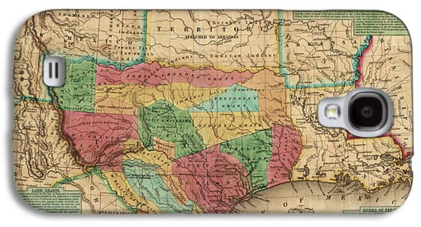 Antique Map Of Texas By James Hamilton Young - 1835 Galaxy S4 Case by Blue Monocle