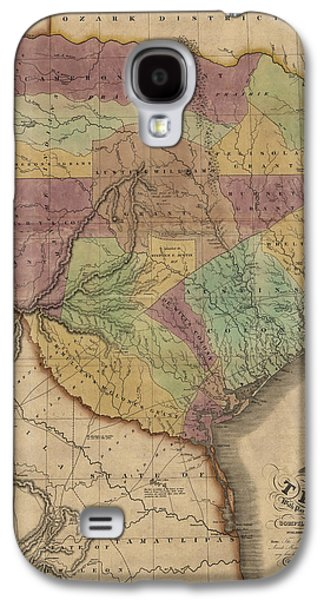 Antique Map Of Texas By Stephen F. Austin - 1837 Galaxy S4 Case by Blue Monocle