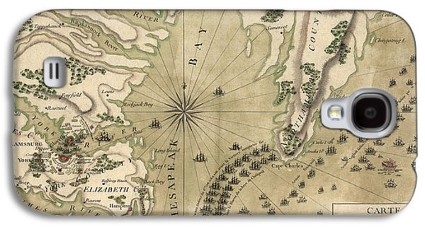 Antique Map Of The Battle Of Yorktown Virginia By Esnauts Et Rapilly - Circa 1781 Galaxy S4 Case by Blue Monocle
