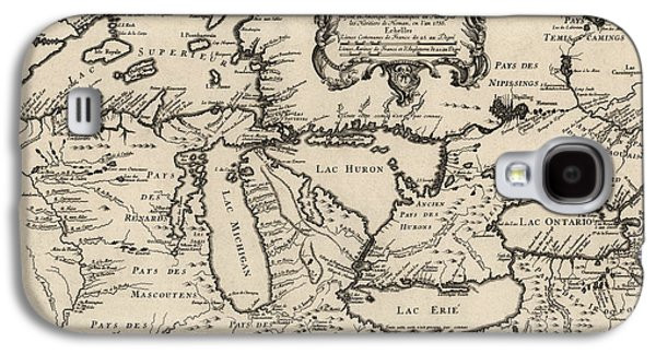 Antique Map Of The Great Lakes By Jacques Nicolas Bellin - 1755 Galaxy S4 Case by Blue Monocle