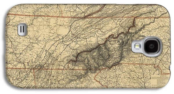 North Galaxy S4 Case - Antique Map Of The Great Smoky Mountains - North Carolina And Tennessee - By W. L. Nickolson - 1864 by Blue Monocle
