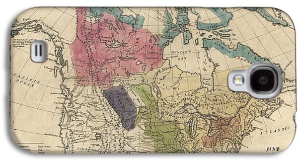 Antique Map Of The Indian Tribes Of North America By Albert Gallatin - 1836 Galaxy S4 Case by Blue Monocle