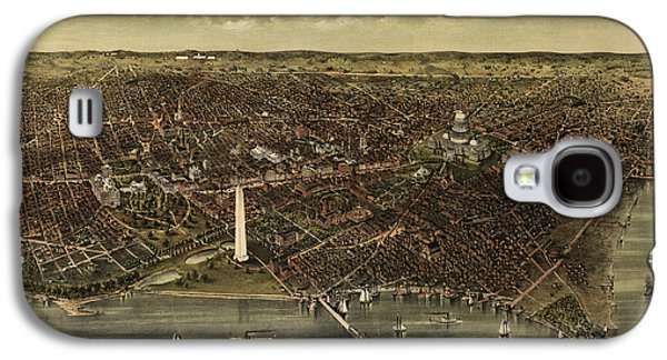 Antique Map Of Washington Dc By Currier And Ives - Circa 1892 Galaxy S4 Case by Blue Monocle