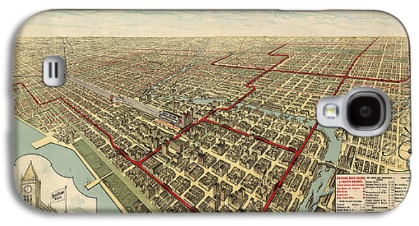Antique Railroad Map Of Chicago - 1897 Galaxy S4 Case