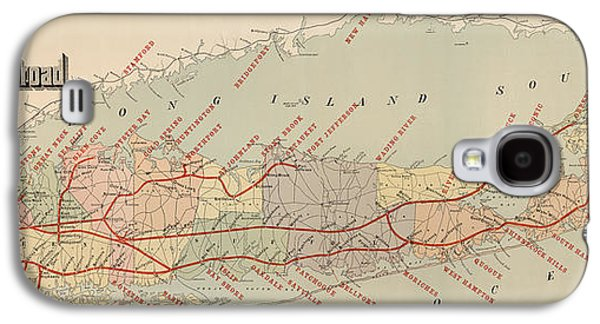 Antique Railroad Map Of Long Island By The American Bank Note Company - Circa 1895 Galaxy S4 Case by Blue Monocle