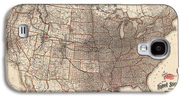Antique Railroad Map Of The United States - Union Pacific - 1892 Galaxy S4 Case by Blue Monocle
