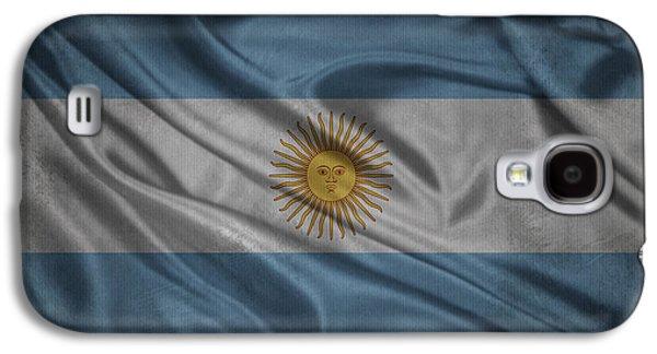 Argentinian Flag Waving On Canvas Galaxy S4 Case by Eti Reid