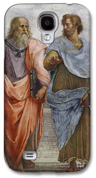Aristotle And Plato Detail Of School Of Athens Galaxy S4 Case by Raffaello Sanzio of Urbino