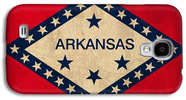 Arkansas State Flag Art On Worn Canvas Galaxy S4 Case