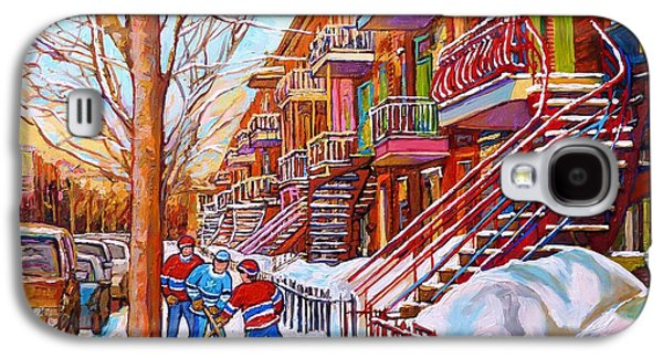 Art Of Montreal Staircases In Winter Street Hockey Game City Streetscenes By Carole Spandau Galaxy S4 Case