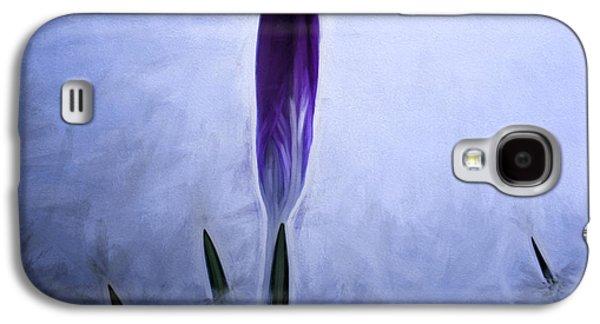 Artistic Painterly Crocus In Snow Galaxy S4 Case